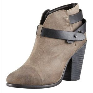 Rag & Bone Clay Harrow Waxed Suede Ankle Booties